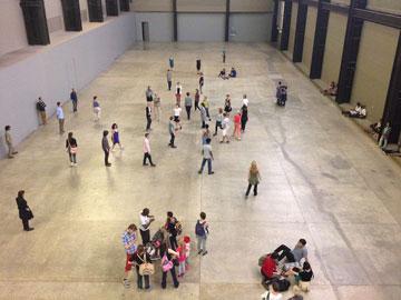 groups of people meeting in museum space