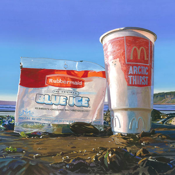 painting of cup and plastic bag found on beach