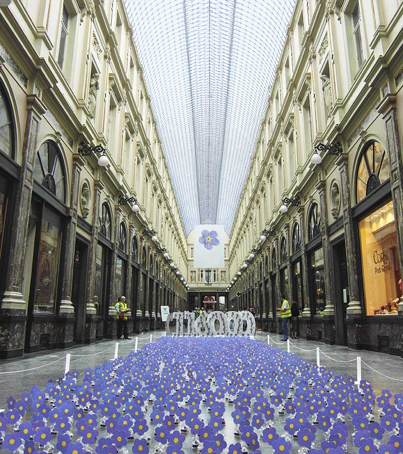 solar-powered flower installation