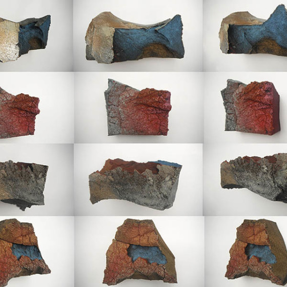 geological forms made from foam and acrylic paint
