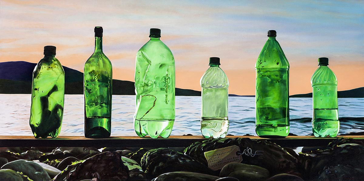 realist painting of 6 green bottles washed up on beach
