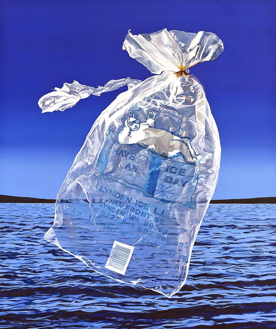 realist painting of plastic bag
