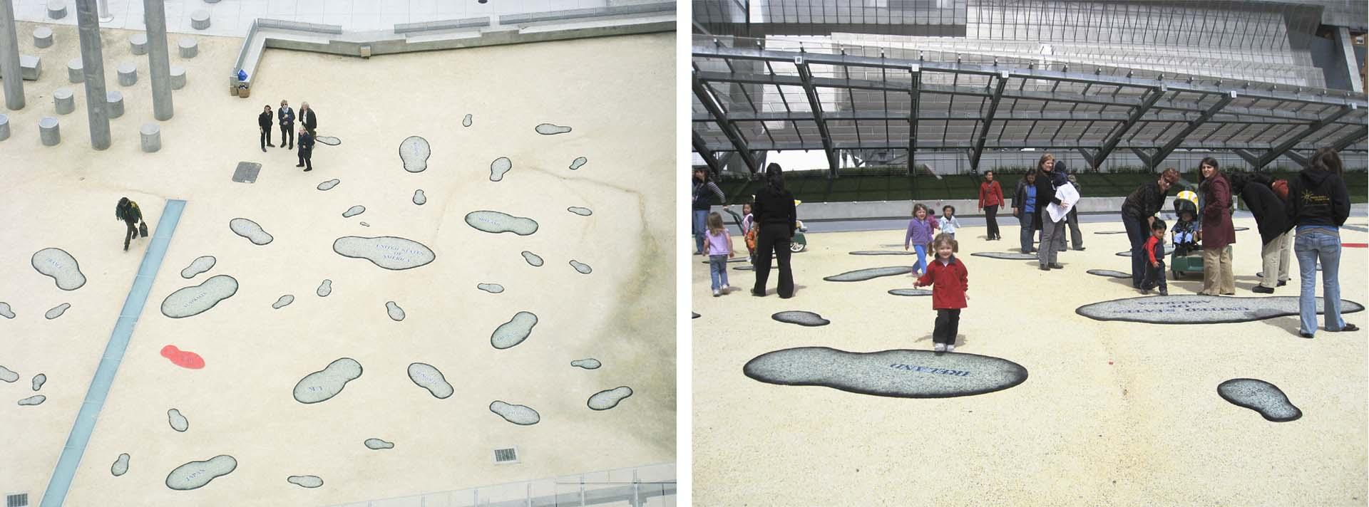 installation of footprints made of carpet padding