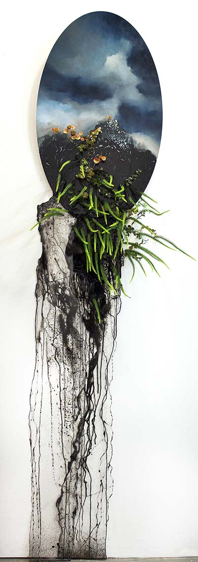 painting with black drips and plastic plants