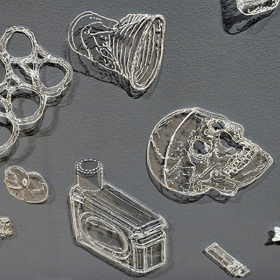 drawings of sea life and trash made from plastic