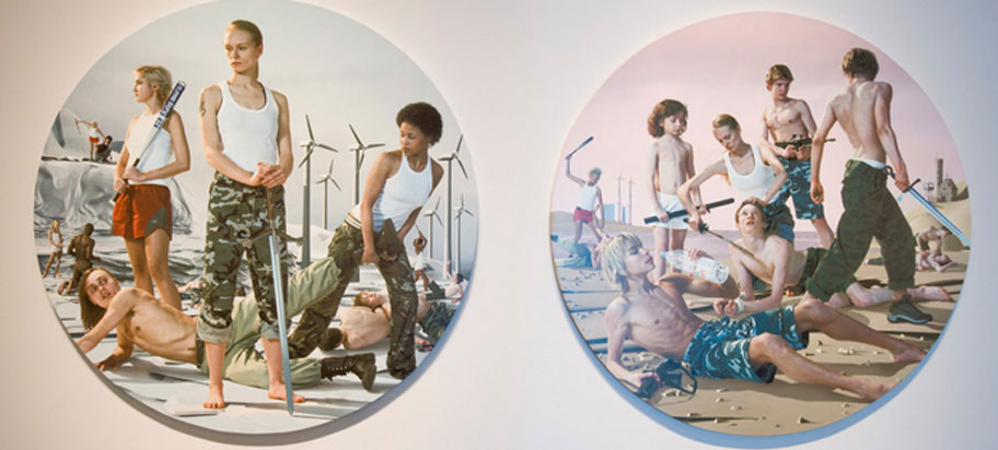circular paintings of teens with weapons in landscape