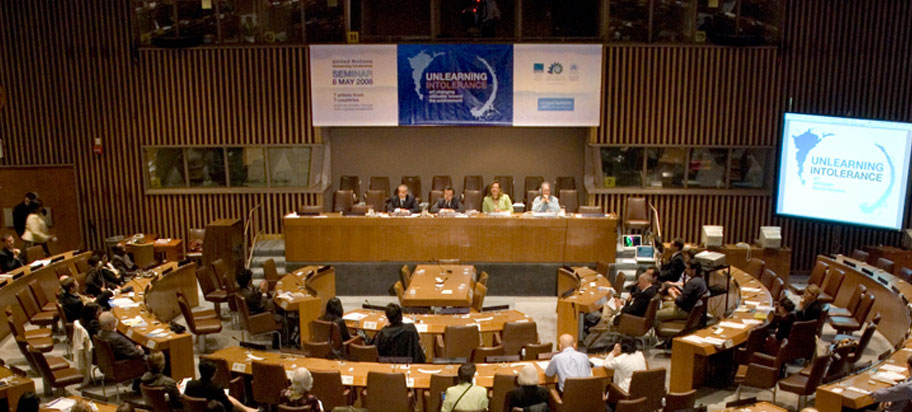 symposium in United Nations assembly room