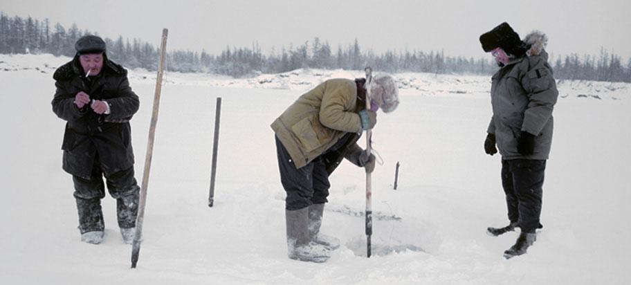Yukaghir people ice fishing