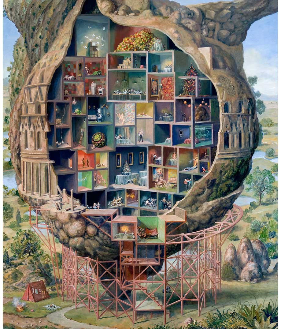 painting of a series of rooms built into a tree with scaffolding