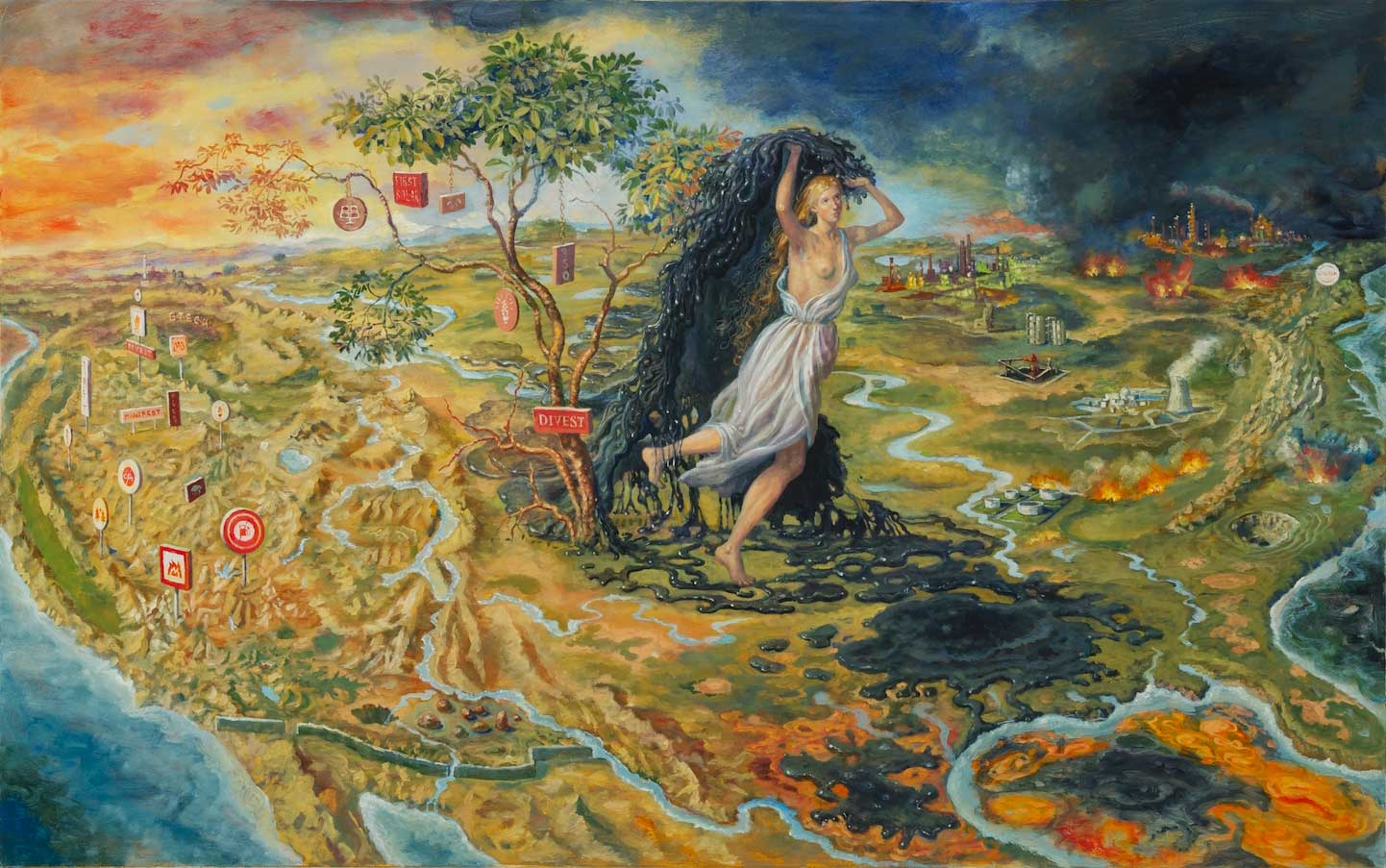 painting of woman carrying oil in fiery landscape