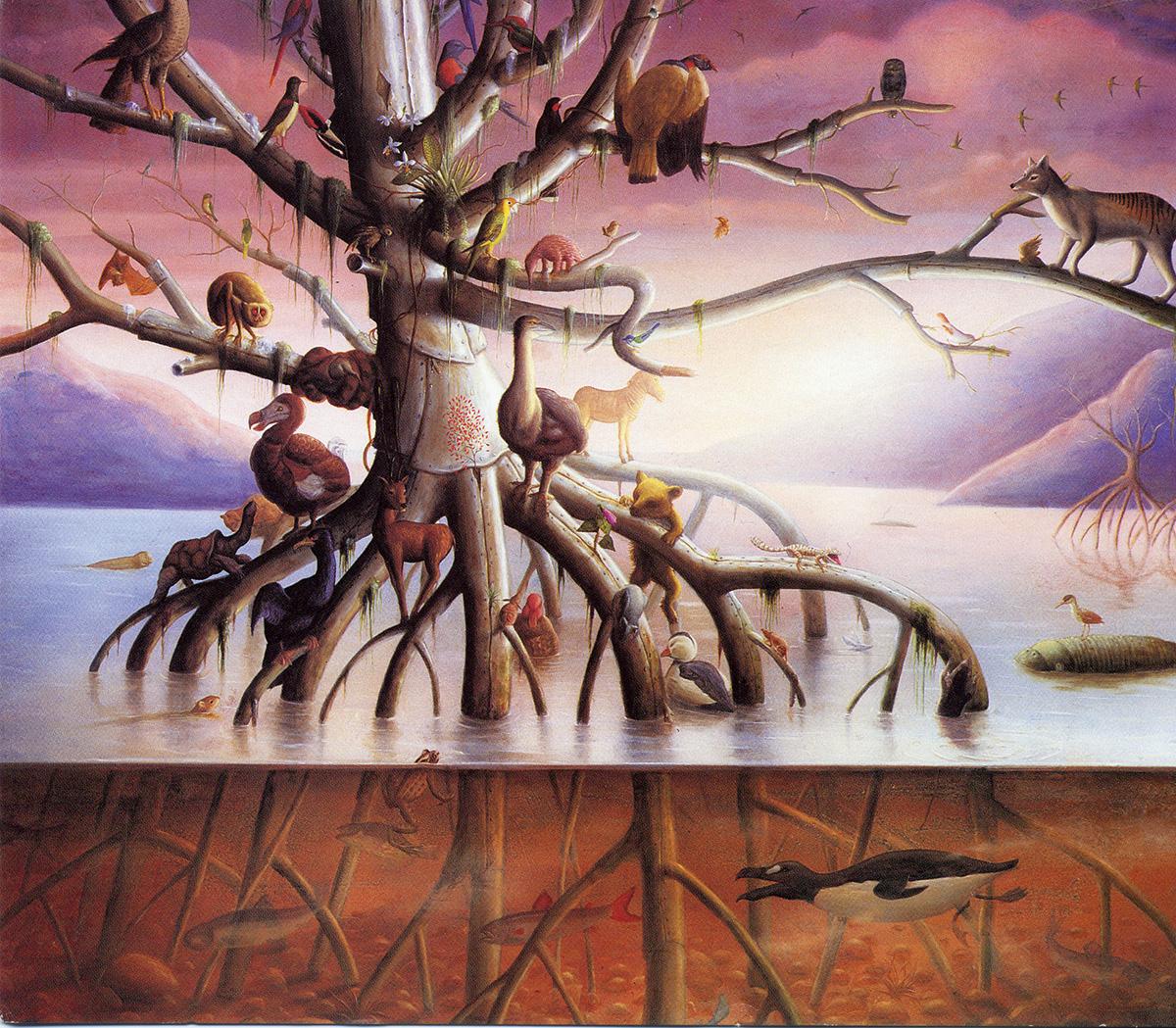 Tree full of extinct animals
