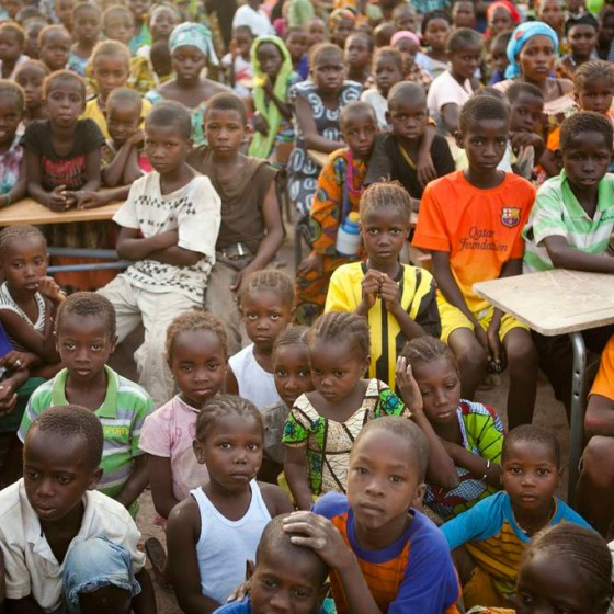 crowd of seated children from Senegal