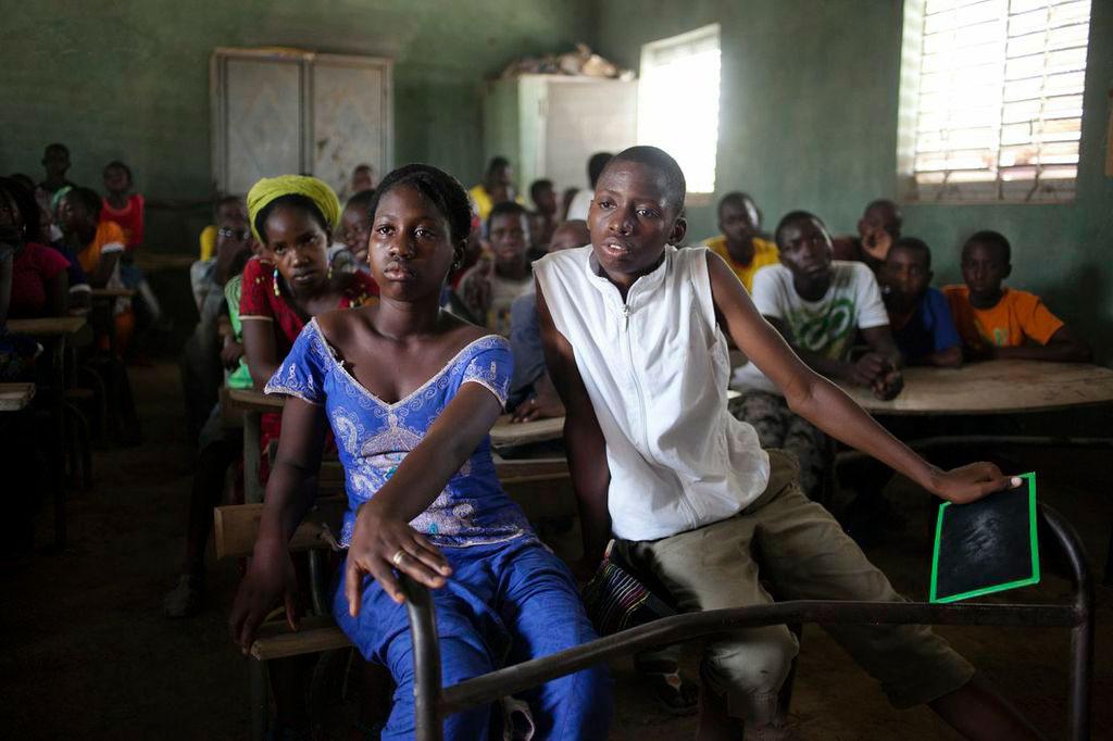 children from Senegal in classroom