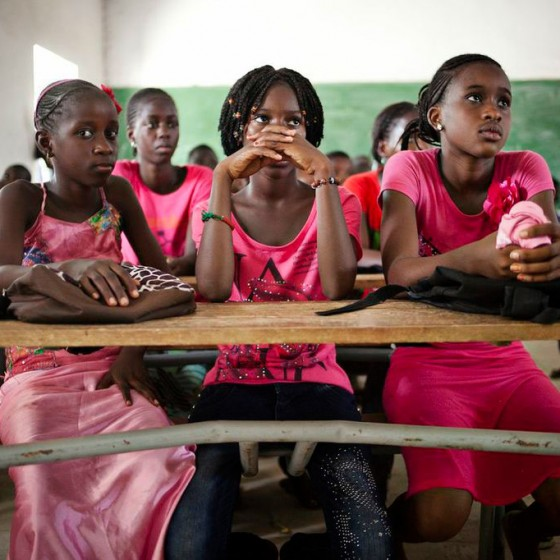 girls from Senegal sitting in classroom