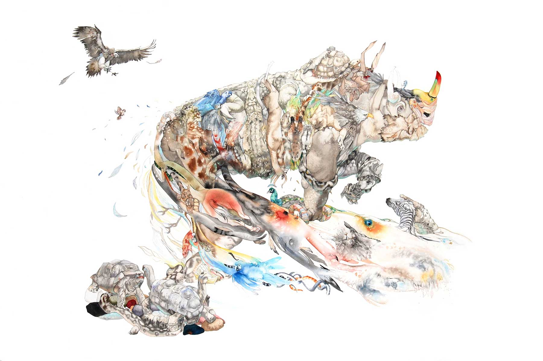 watercolor painting of rhinoceros and other wildlife