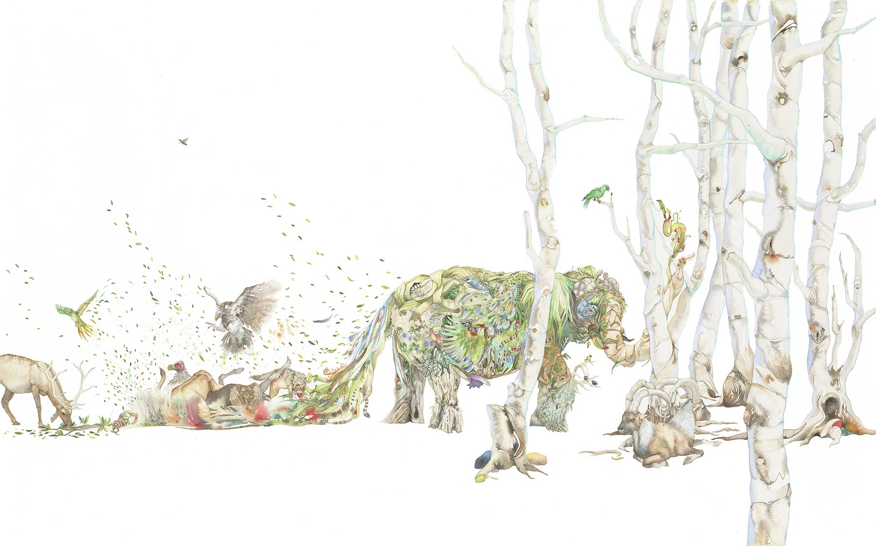 watercolor painting of elephant, other wildlife and trees