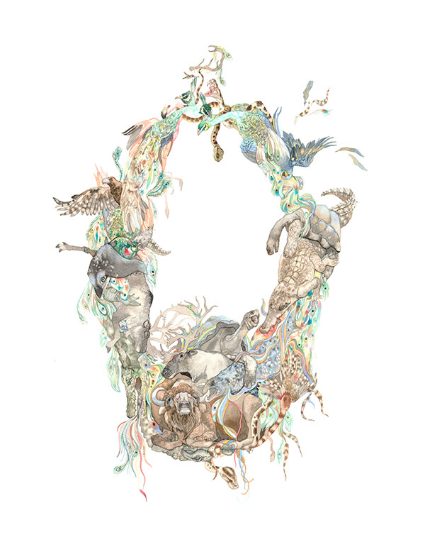 watercolor painting of wildlife woven together