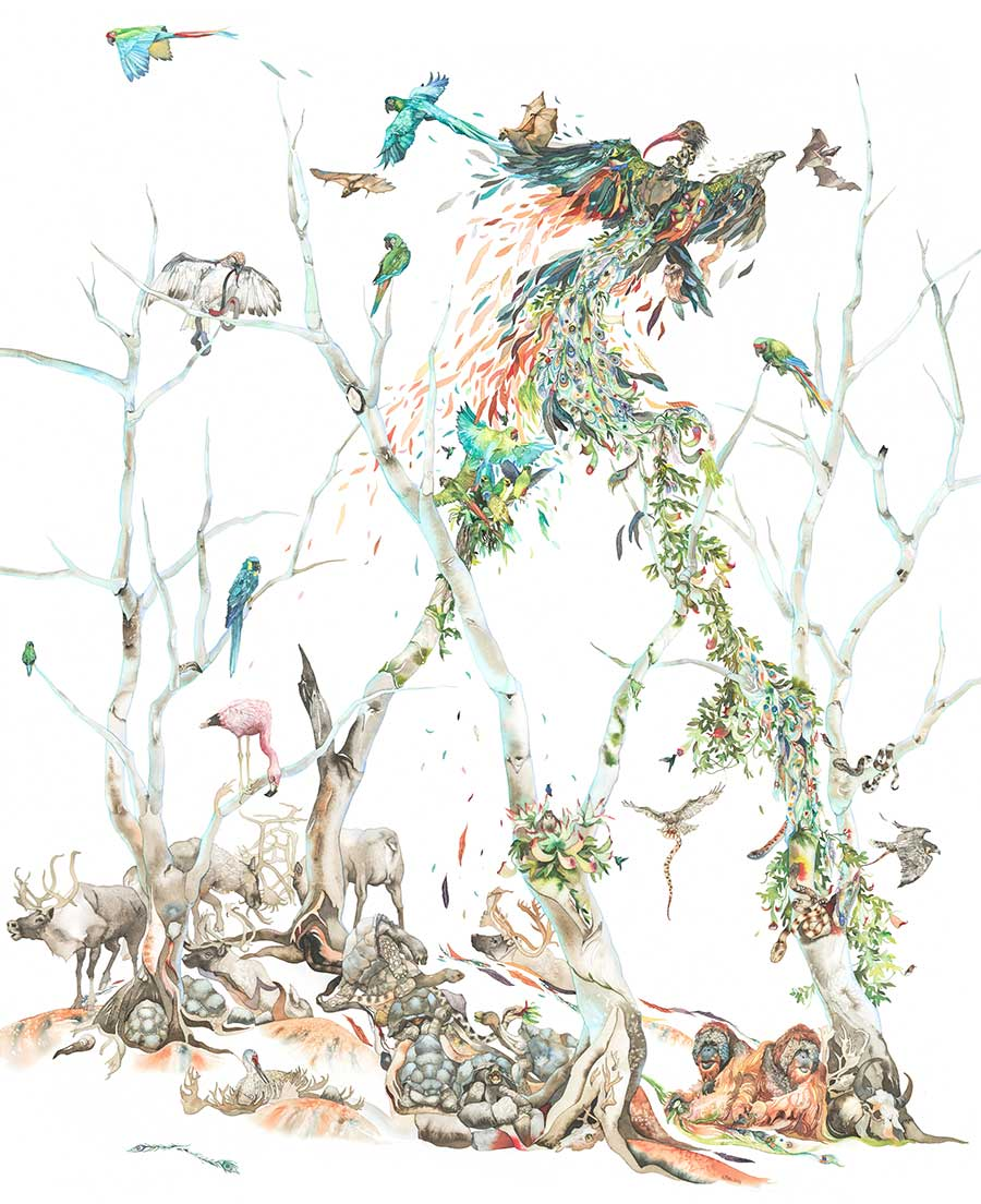 watercolor painting of wildlife woven together in shape of trees