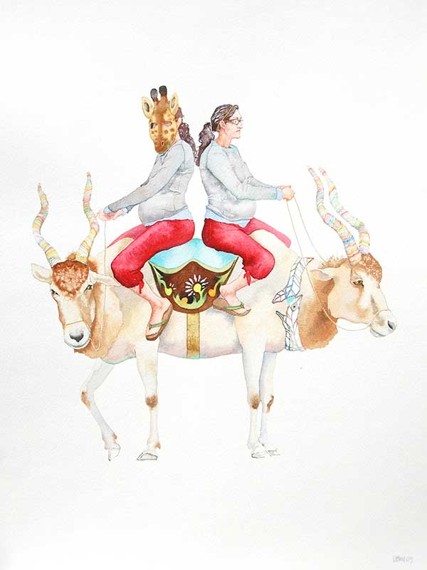 watercolor of person in giraffe mask riding antelope