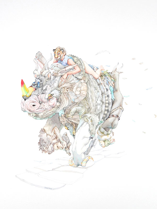watercolor of person in tiger mask riding rhinoceros