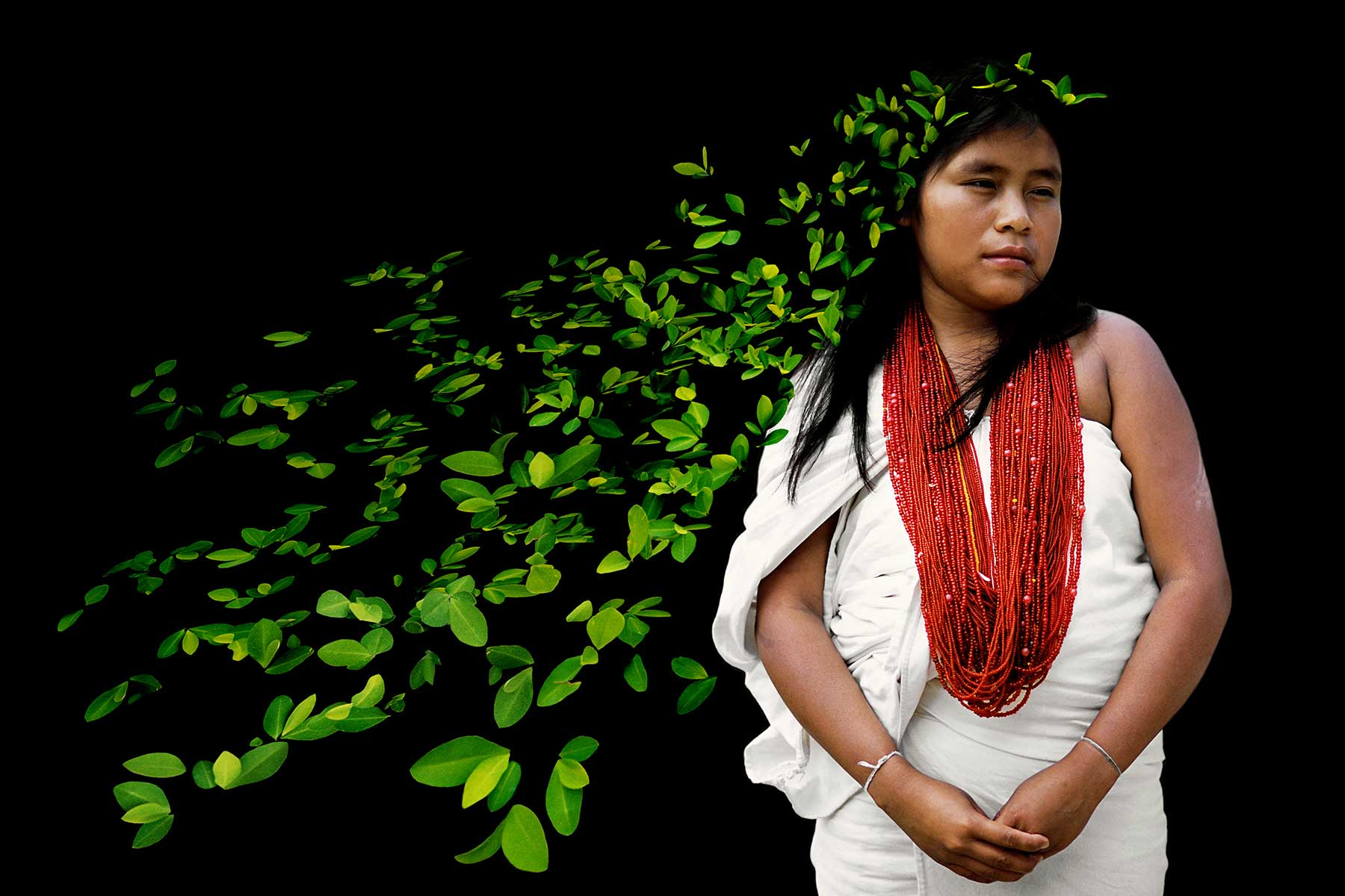 indigenous girl with leaves for hair