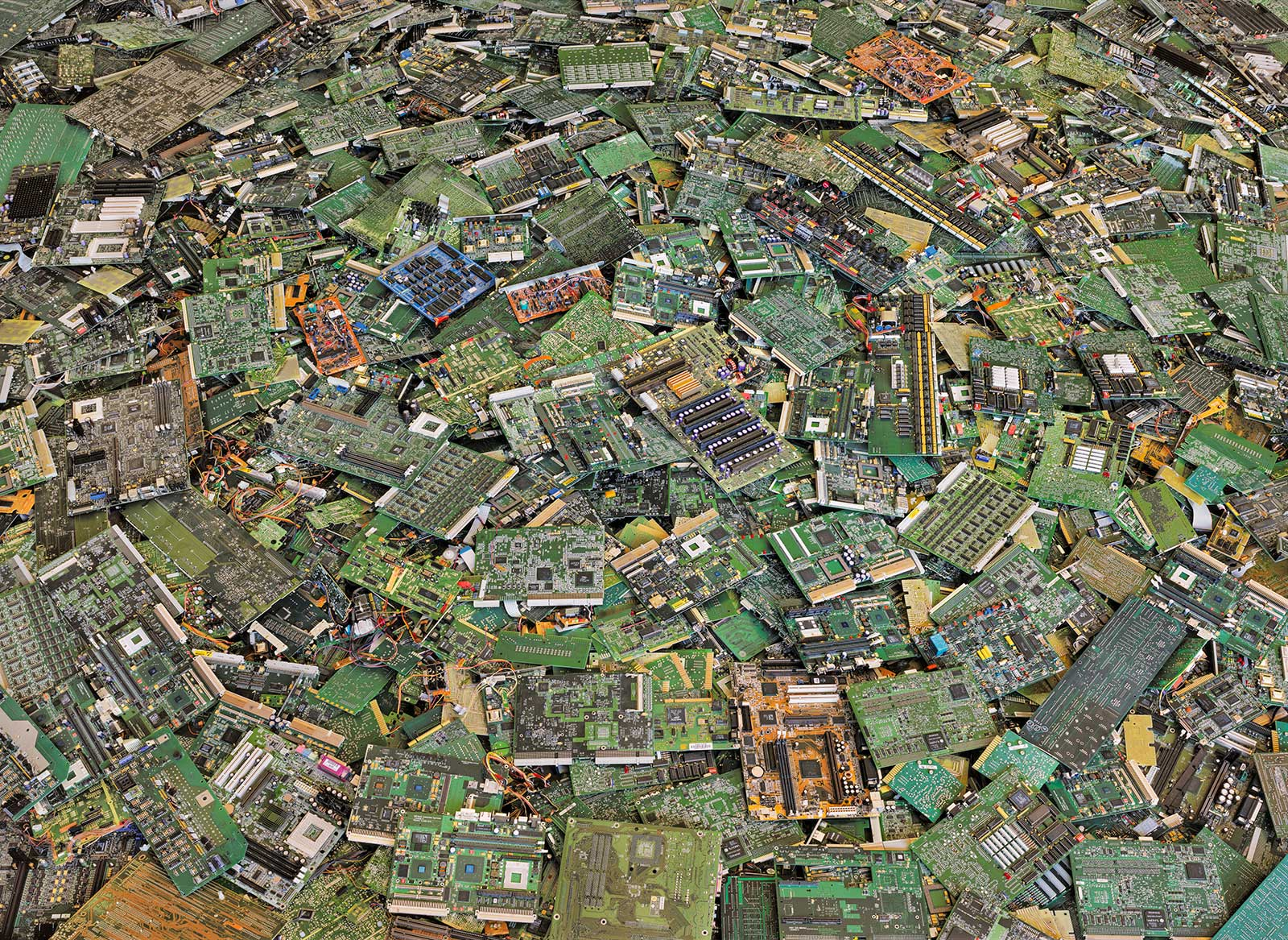 large pile of circuit boards