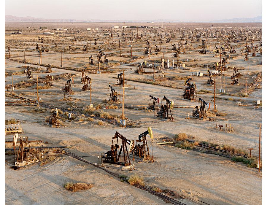 oil fields with derricks