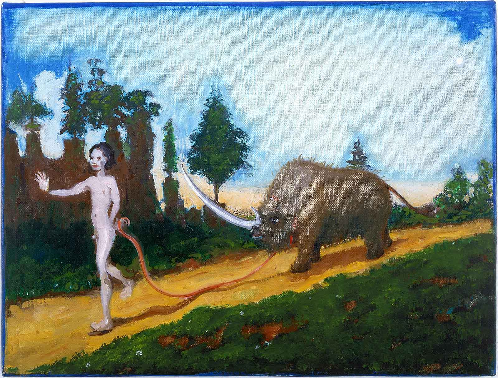 primitive boy walking wooly rhinoceros