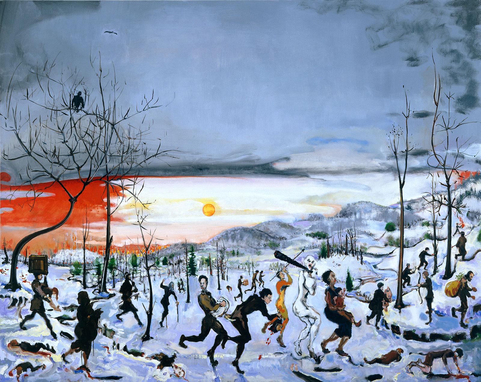 massacre of little people by big people in winter landscape