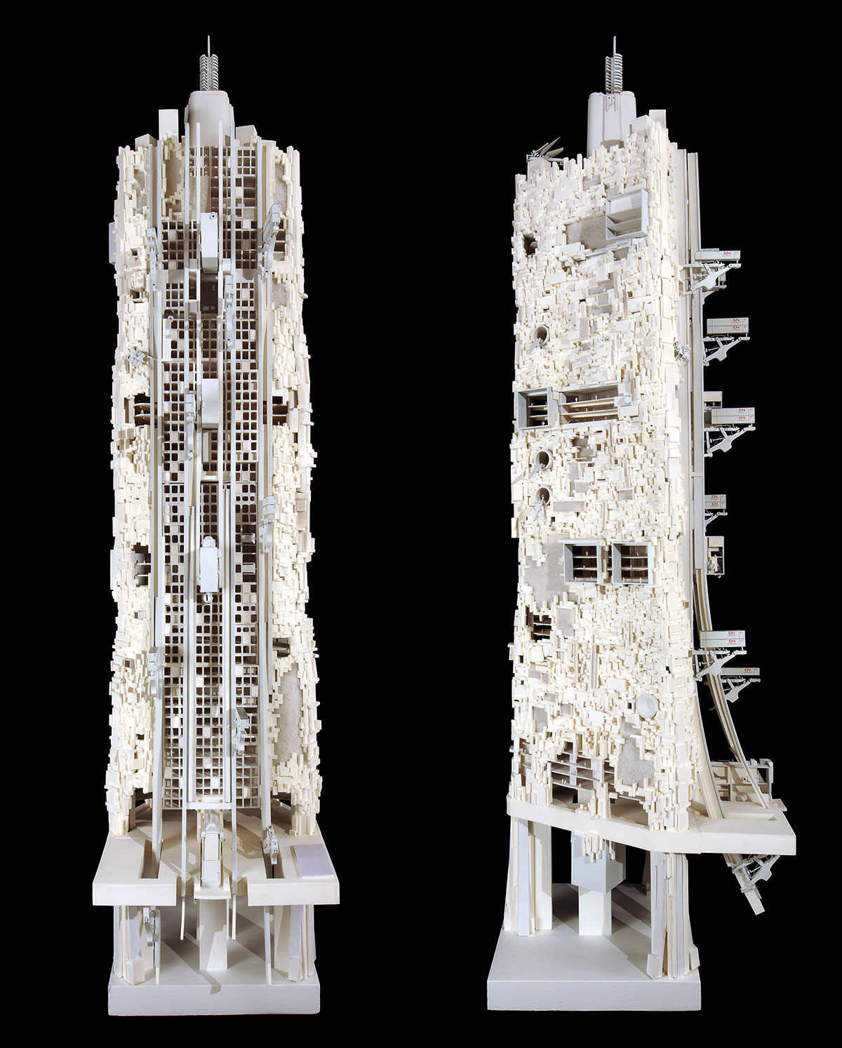 architectural model of two towers