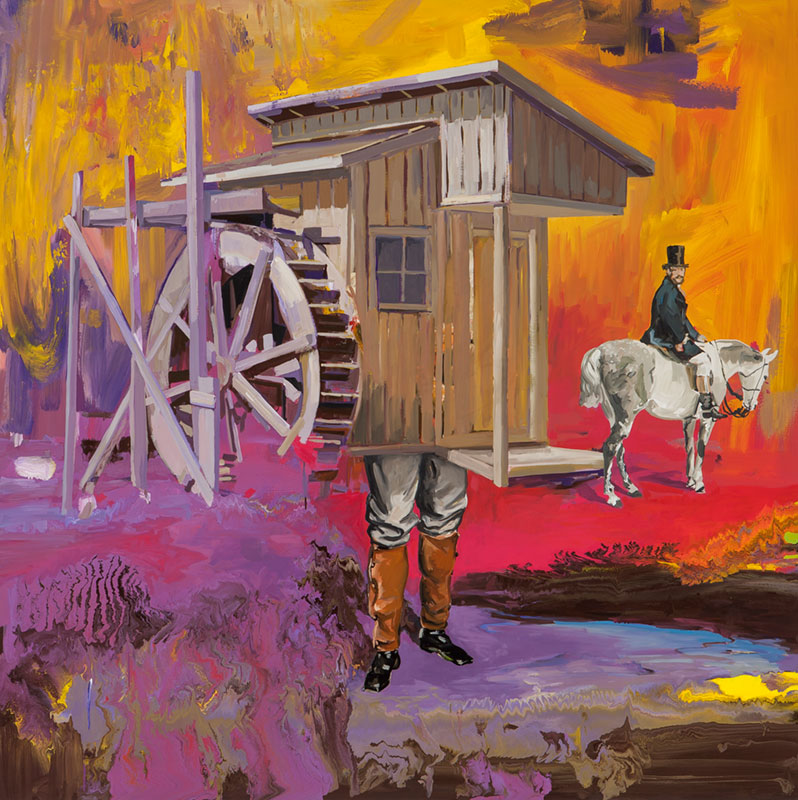 House with legs and man on horse