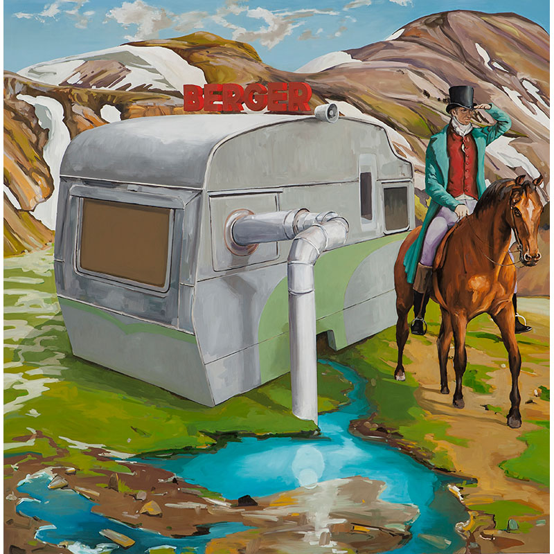 mobile home in mountain landscape