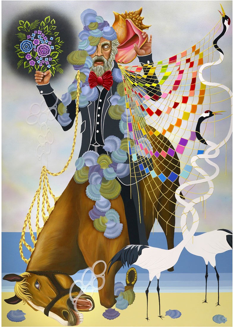 man on horse with cranes and shells