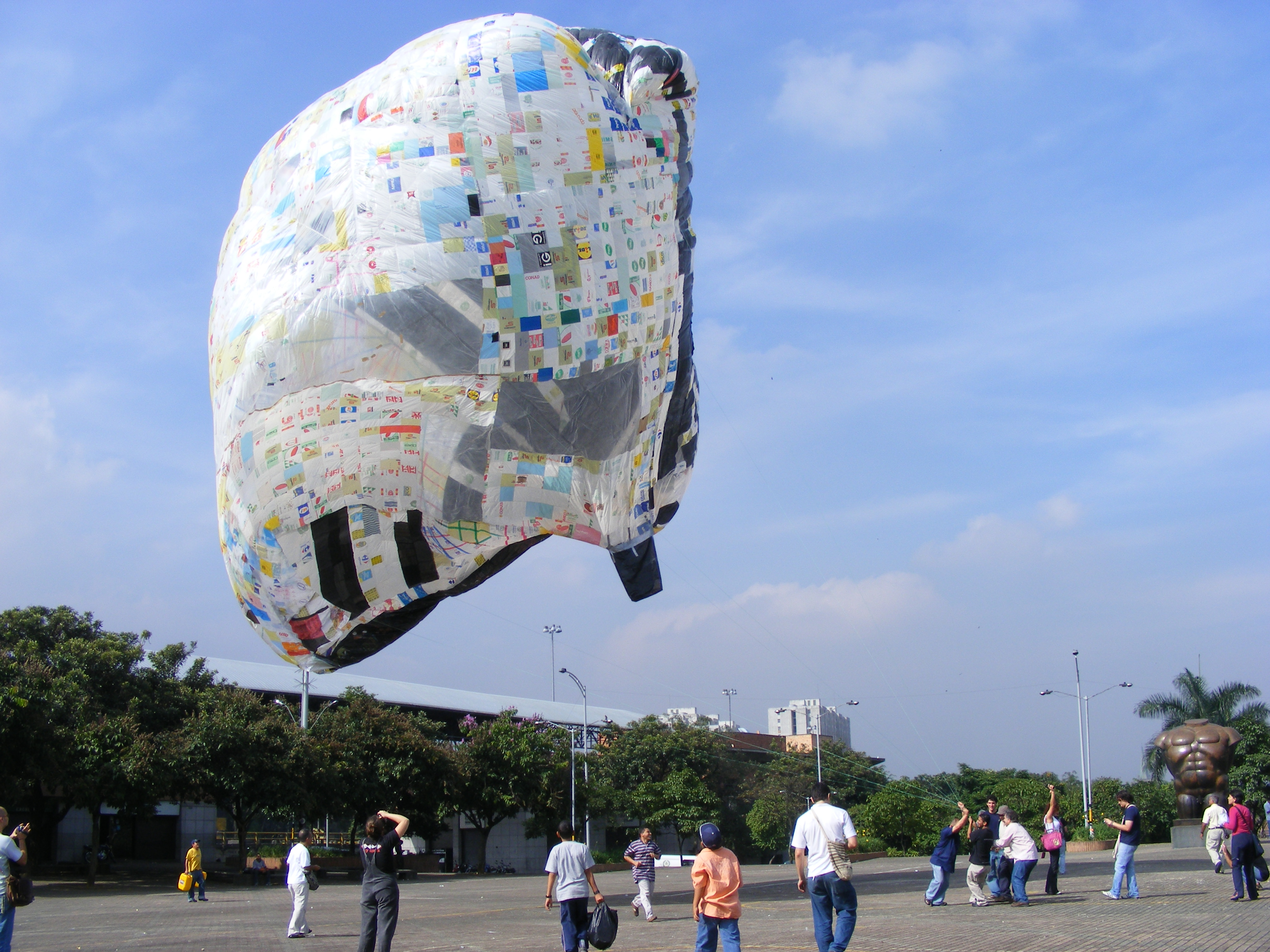 huge balloon made from plastic bags