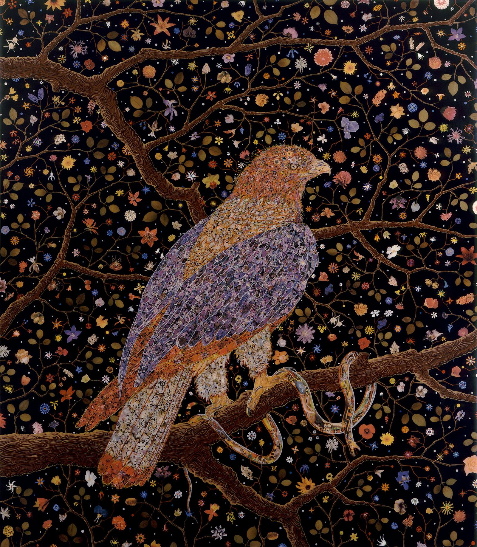 painting of raptor holding snake on tree limb