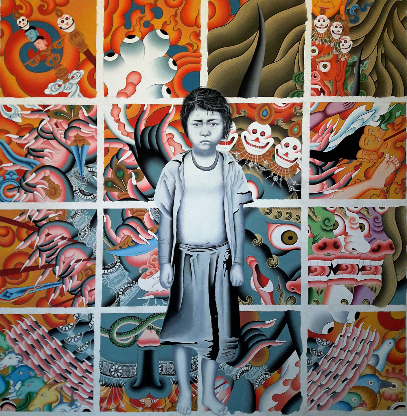 young boy standing in front of sexualized buddhist art