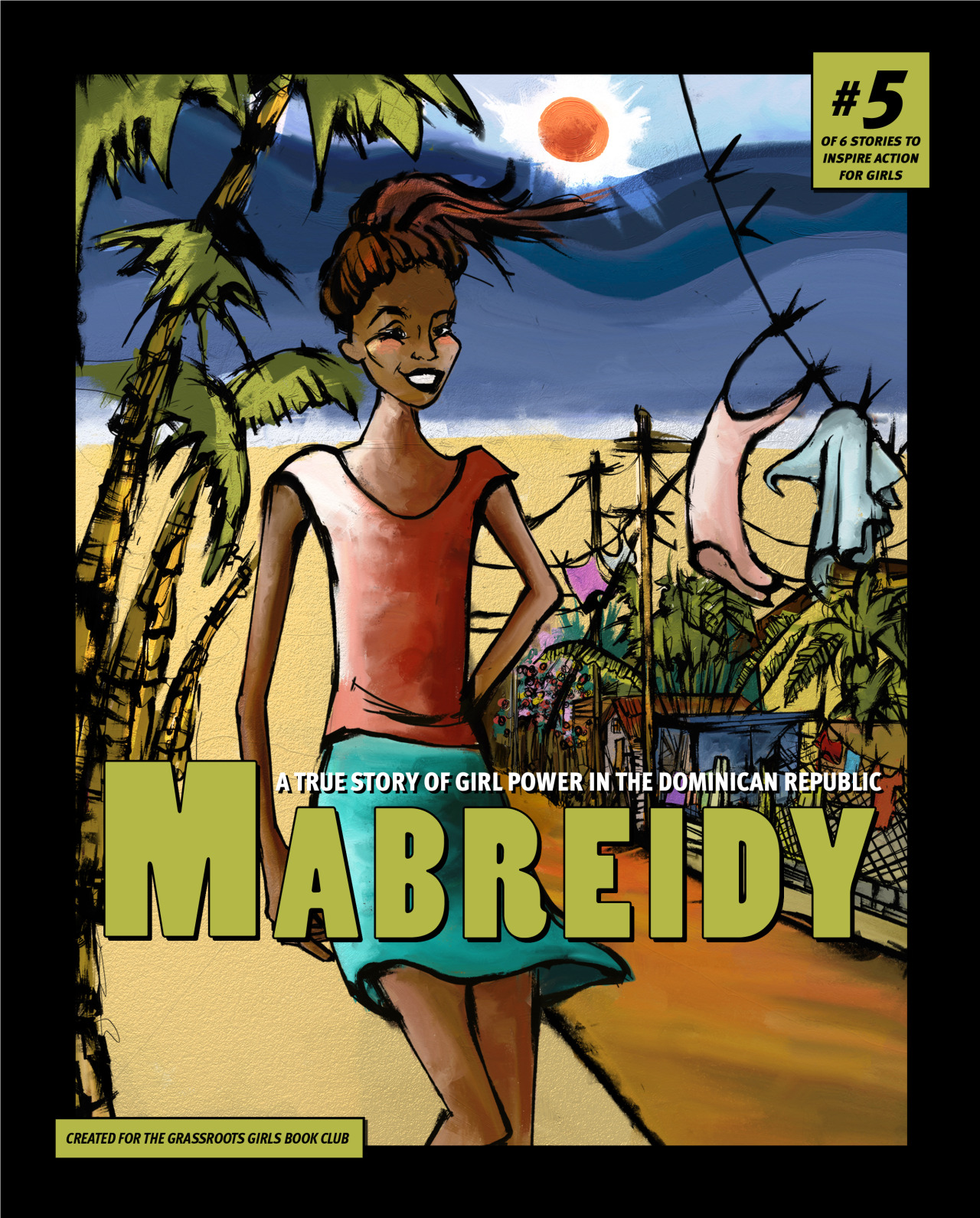 graphic novel cover with girl from Dominican Republic