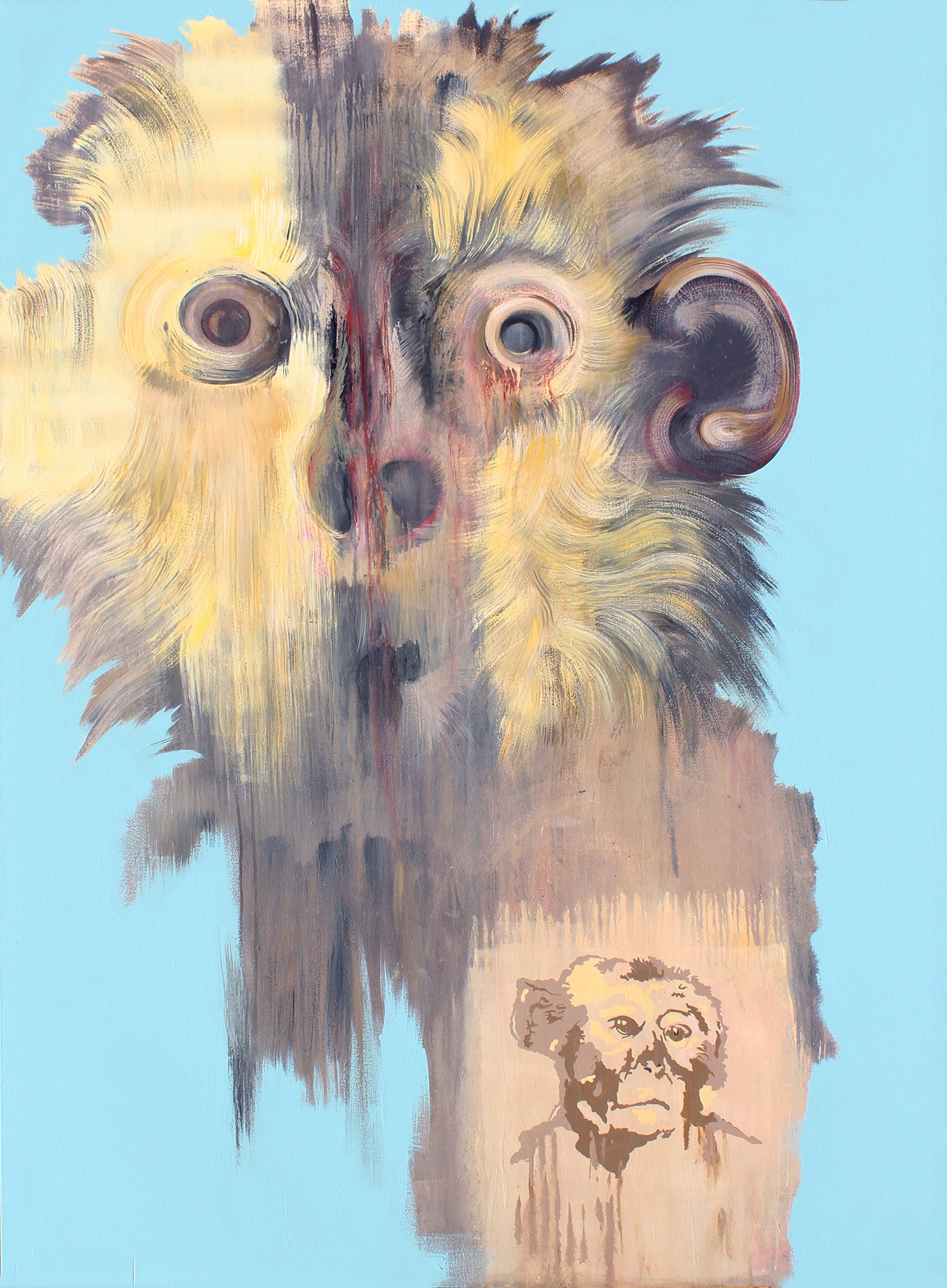 Painting of frightened monkey