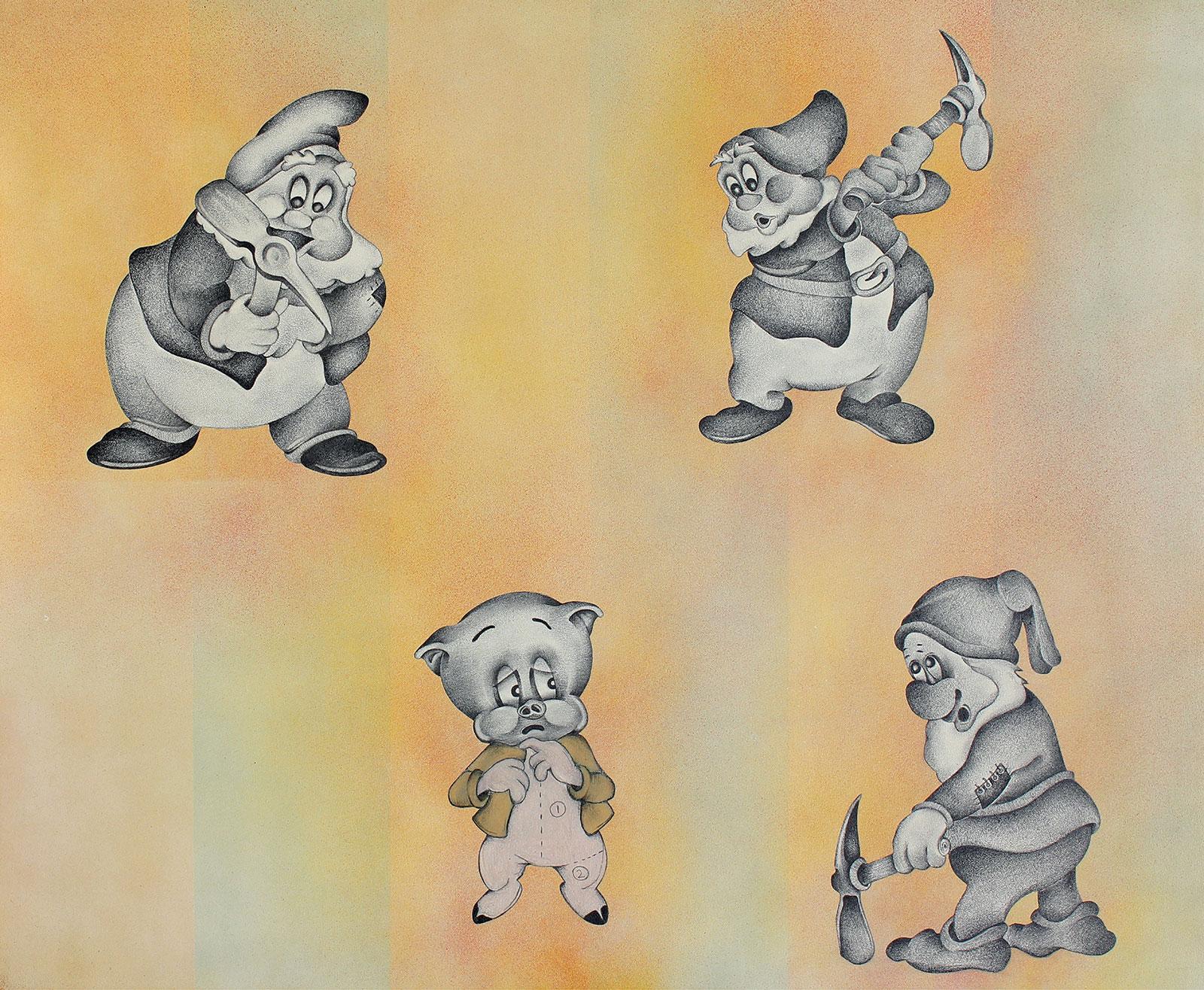 cartoon Disney dwarves threatening pig