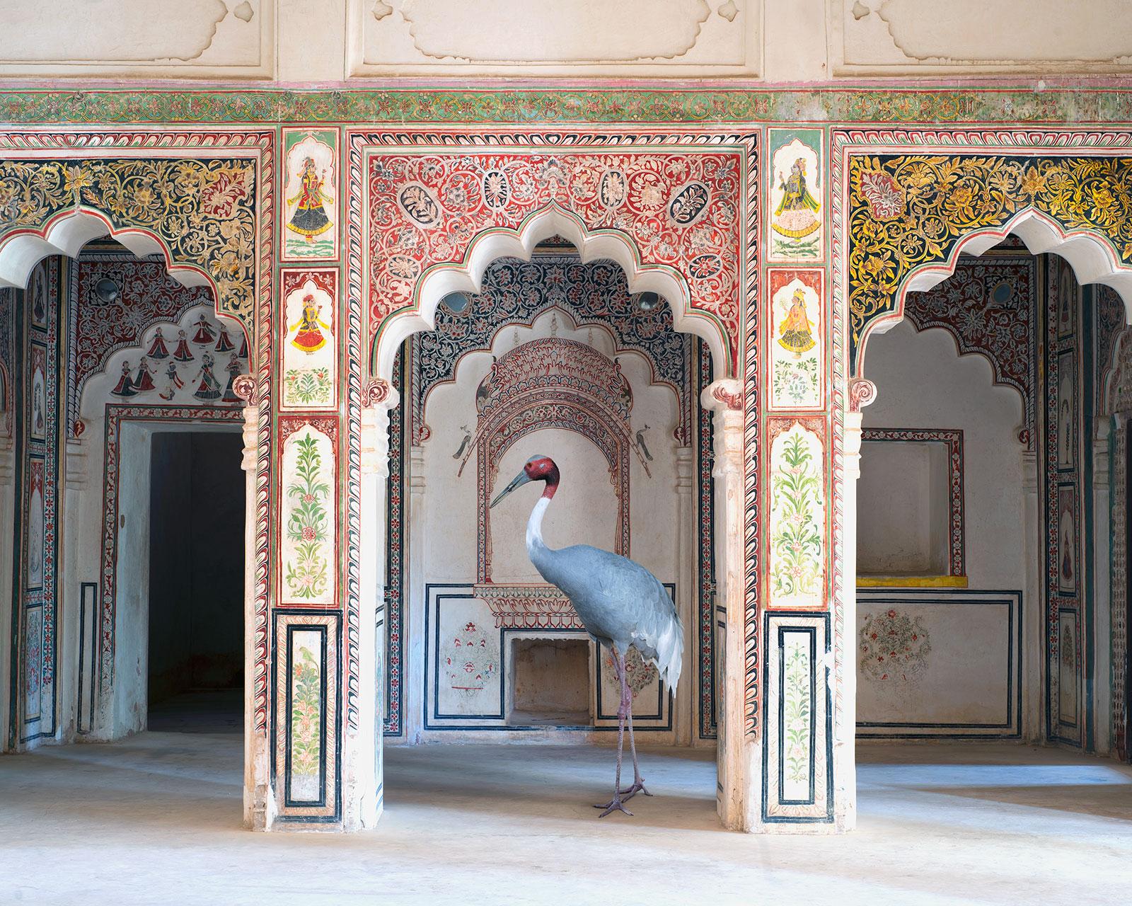 crane in ornate Indian temple