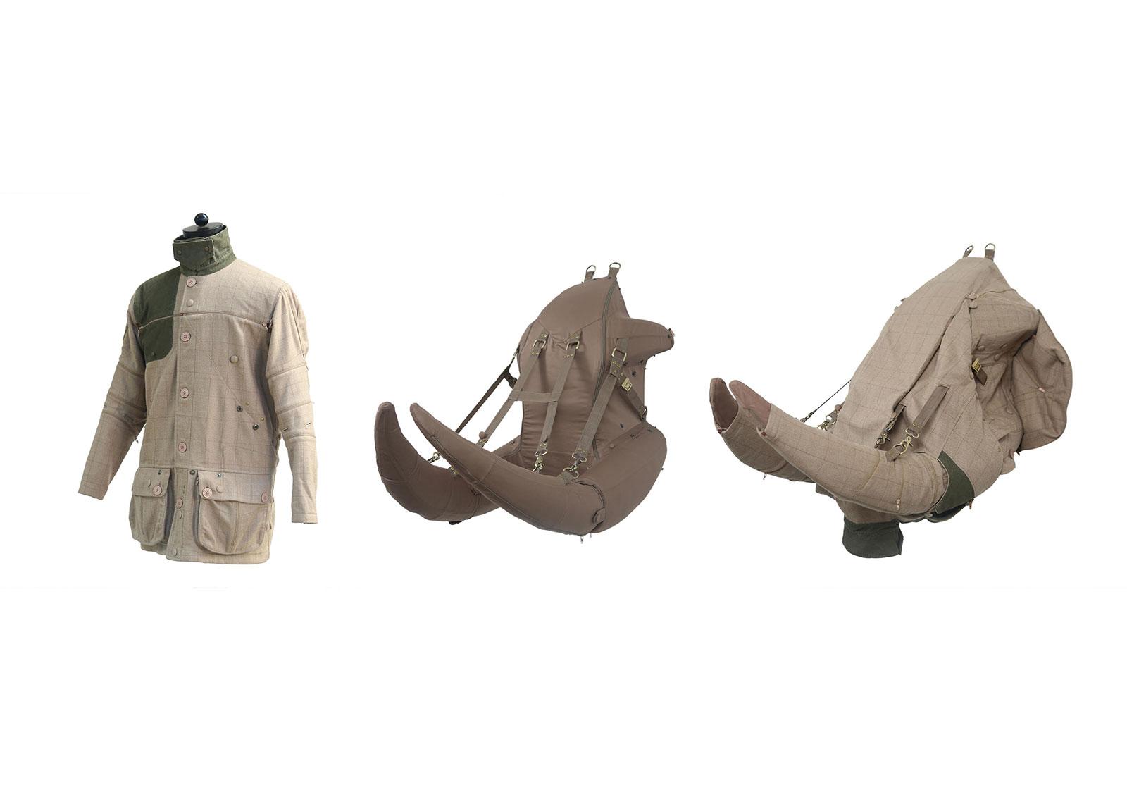 safari jacket that folds into the form of an elephant head