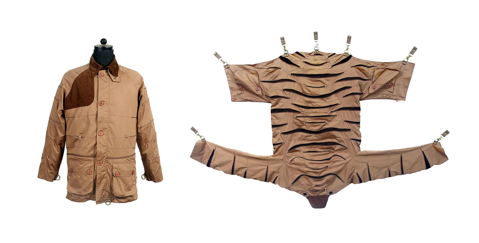 safari jacket that folds into the form of a tiger skin