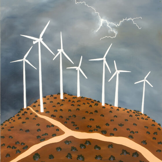 Wind turbines on hill with lightning